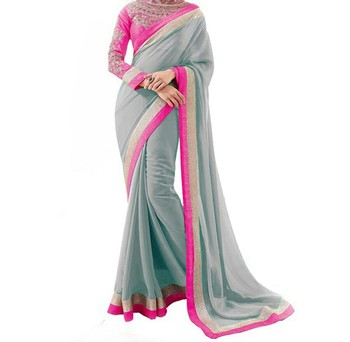 grey embroidered georgette sareem with blouse