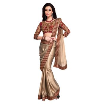 golden embroidered georgette sareem with blouse