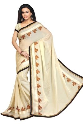 light and cream embroidered georgette sareem with blouse