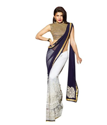 blue and white embroidered georgette sareem with blouse