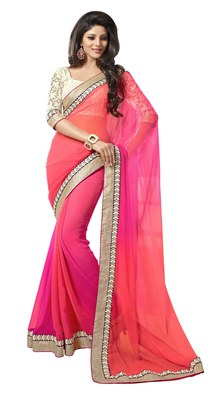 pink embroidered georgette sareem with blouse