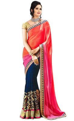 blue and red and pink embroidered georgette sareem with blouse