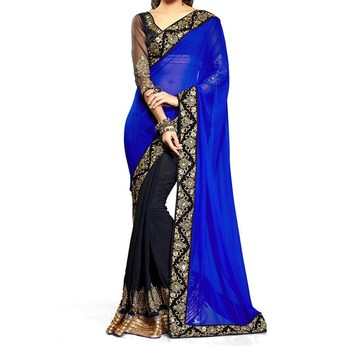 black and blue embroidered georgette sareem with blouse