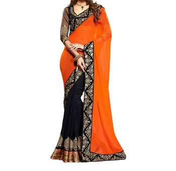 black and orange embroidered georgette sareem with blouse
