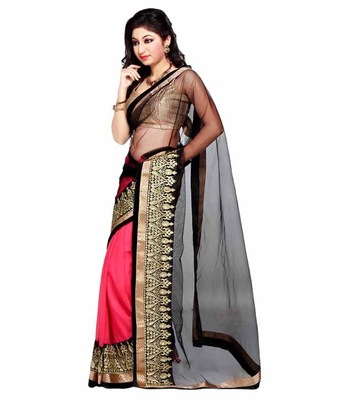 black and pink embroidered georgette sareem with blouse
