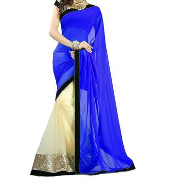 white and blue embroidered georgette sareem with blouse