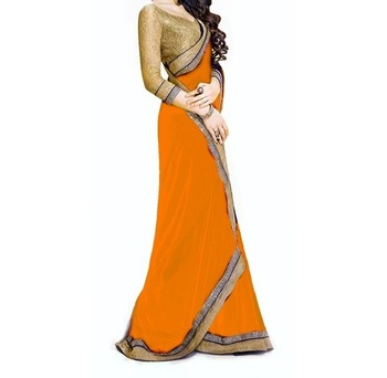 yellow embroidered georgette sareem with blouse