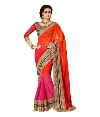 orange and pink embroidered georgette sareem with blouse