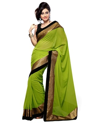 green embroidered georgette sareem with blouse