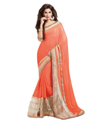orange embroidered georgette sareem with blouse