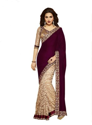 cream and maroon embroidered net sareem with blouse