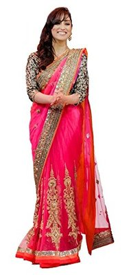 pink embroidered net sareem with blouse
