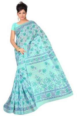 Cyan printed cotton saree with blouse