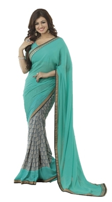 Cyan printed georgette saree with blouse