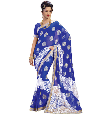 Blue printed Brasso saree with blouse