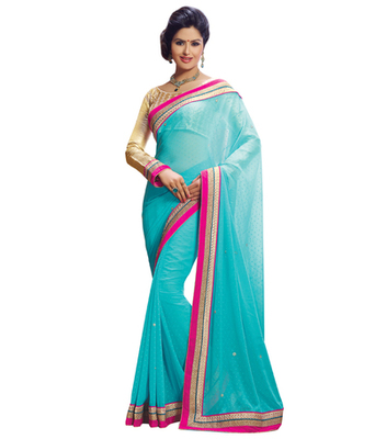 Blue printed woven saree with blouse