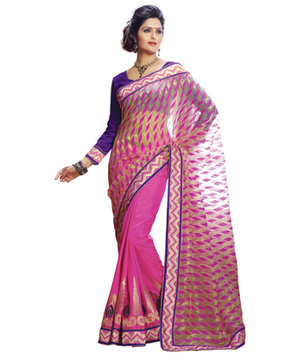 multicolor printed Jacquard saree with blouse