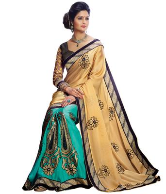 Transparent printed Satin saree with blouse