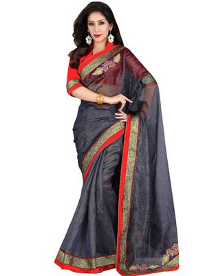 grey embroidered Banarasi saree with blouse