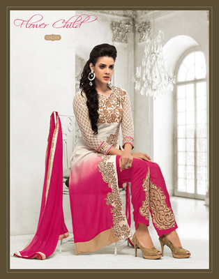 White and Pink embroidered  semi stitched salwar with dupatta