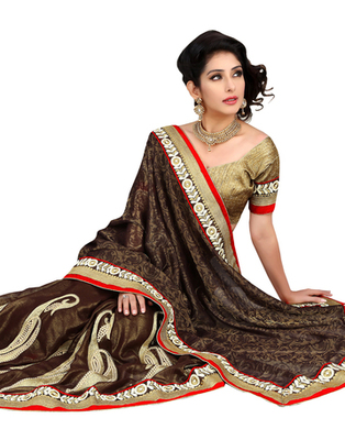 Brown embroidered Jacquard saree with blouse