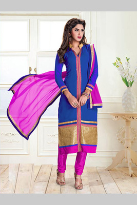 Blue and Dark Pink embroidered Georgette semi stitched salwar with dupatta
