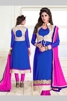 Blue and Pink embroidered Georgette semi stitched salwar with dupatta