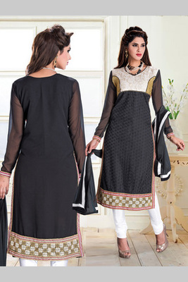 Off white and Black  embroidered Net semi stitched salwar with dupatta
