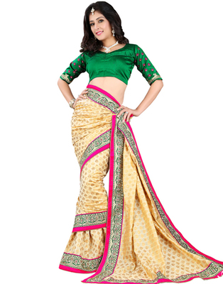 Beige embroidered Banarasi Jacquard saree with blouse