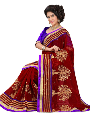Red embroidered Banarasi saree with blouse