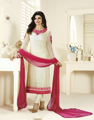 White embroidered Brasso semi stitched salwar with dupatta