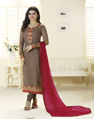 Brown embroidered Brasso semi stitched salwar with dupatta