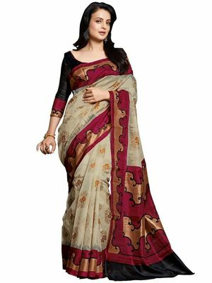 red and cream  bhagalpuri silk saree with blouse