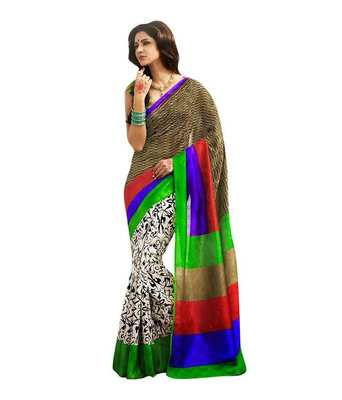 multicolor  bhagalpuri silk saree with blouse