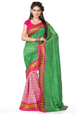 Green printed art_silk saree with blouse