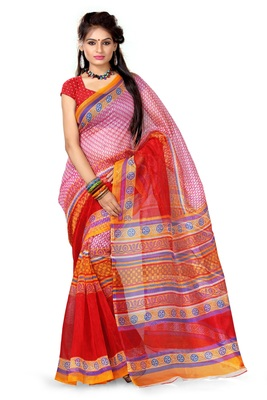 Multicolor printed net saree with blouse
