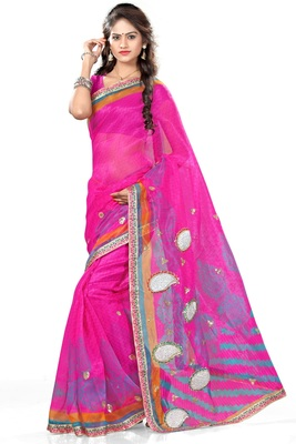 Light pink printed net saree with blouse