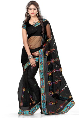 Black printed net saree with blouse