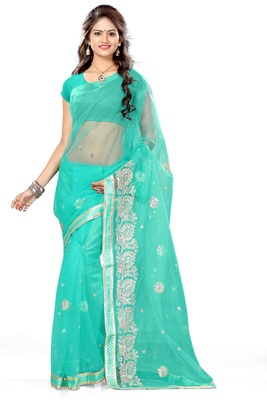 Tourquise printed net saree with blouse