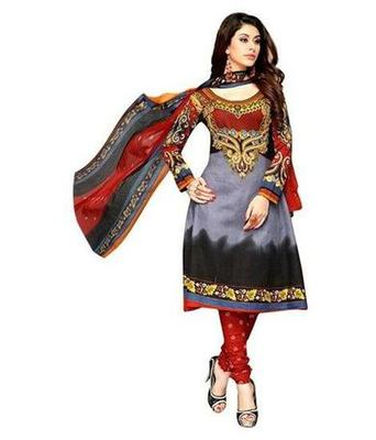 Grey and Black printed Cotton unstitched salwar with dupatta