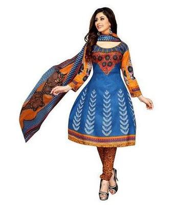 Blue printed Cotton unstitched salwar with dupatta
