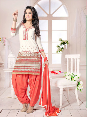 White embroidered Cambric and Cotton unstitched salwar with dupatta