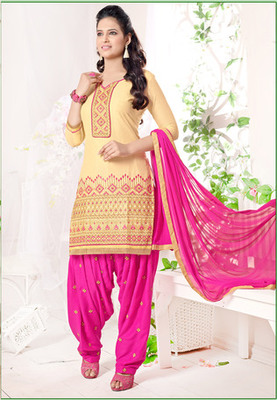 Beige embroidered Cambric and Cotton unstitched salwar with dupatta