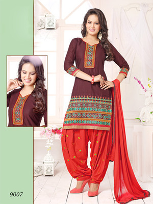 Brown embroidered Cambric and Cotton unstitched salwar with dupatta