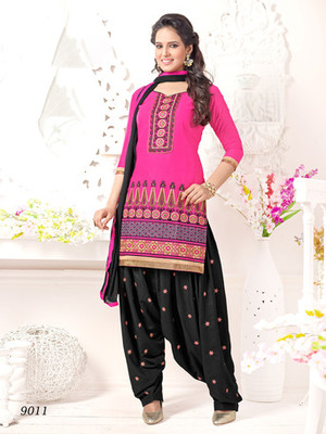 Pink embroidered Cambric and Cotton unstitched salwar with dupatta