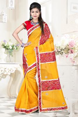 Yellow embroidered DHUPIAN sarree with blouse
