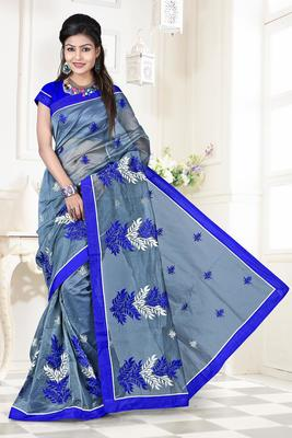 Blue embroidered DHUPIAN sarree with blouse