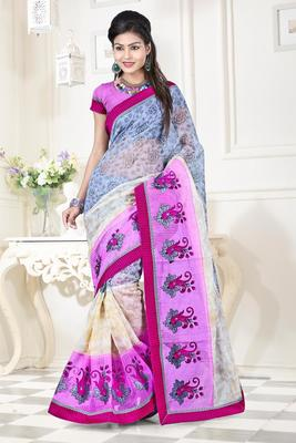 Pink embroidered DHUPIAN sarree with blouse