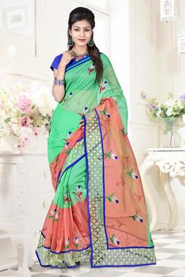 Green embroidered DHUPIAN sarree with blouse