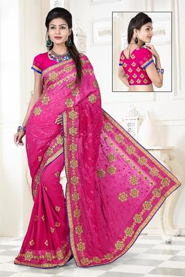 Pink embroidered  WEIGHTLESS PEDDING sarree with blouse